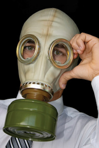 Business Man Wearing Gas Mask
